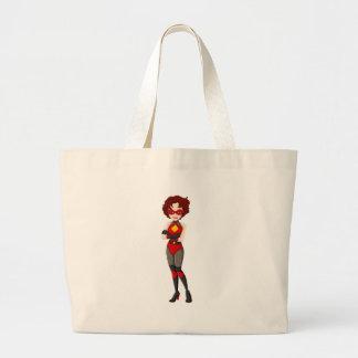 Un super héroe femenino con una máscara roja bolsa tela grande