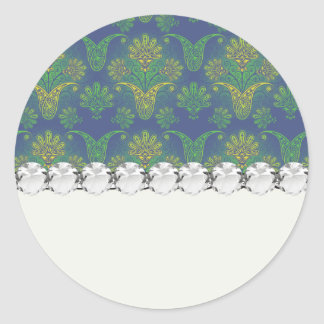 un tacto del diseño 2 del damasco del pavo real pegatina redonda