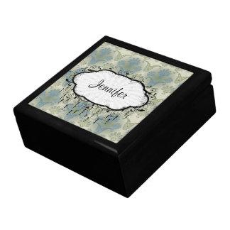 un tacto del diseño del damasco del pavo real cajas de recuerdo