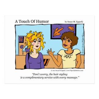 Un tacto masaje libre del peinado del humor cómi tarjeta postal