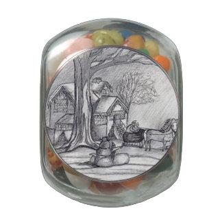 Un tarro de cristal del caramelo del día de invier frascos de cristal jelly belly