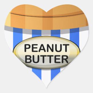 Un tarro de mantequilla de cacahuete pegatina en forma de corazón
