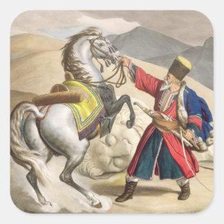 Un tártaro con su caballo, grabado por el Thierry Pegatina Cuadrada