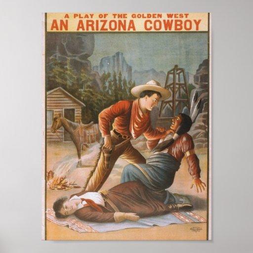 Un teatro del vintage del vaquero de Arizona Póster
