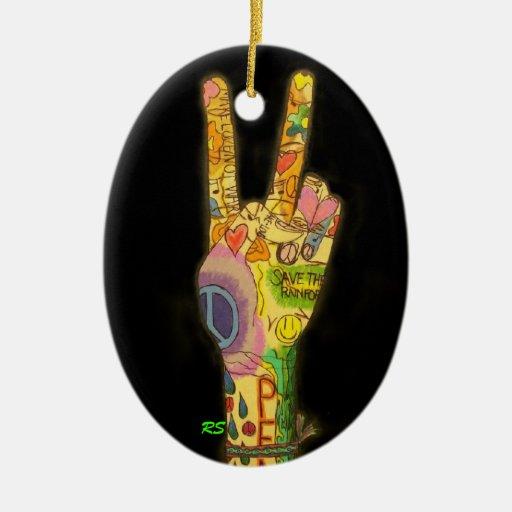 Un tema pacífico - signo de la paz adorno navideño ovalado de cerámica
