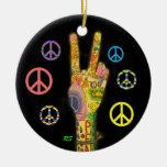 Un tema pacífico - signo de la paz ornamentos de navidad