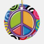 Un tema pacífico - signo de la paz ornamento para arbol de navidad