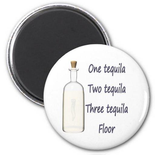 Un tequila cuatro del tequila tres del tequila dos imán redondo 5 cm