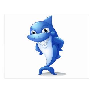 Un tiburón azul grande postales