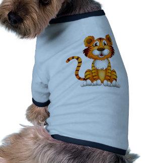 Un tigre que se sienta camiseta con mangas para perro