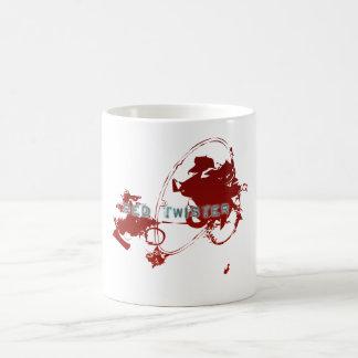 Un tornado rojo del animado tazas de café