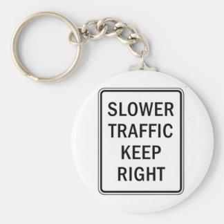 Un tráfico más lento guarda a la derecha llavero redondo tipo pin