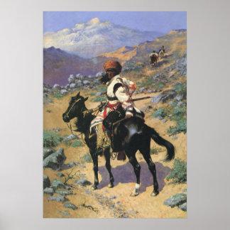 Un trampero indio por Remington, oeste salvaje del Póster
