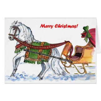Un trineo abierto del caballo tarjeta de felicitación