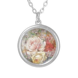 Un trío de rosas - diseño del vintage colgante redondo