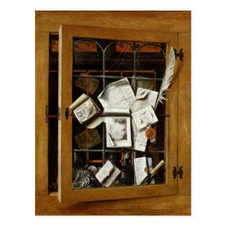 Un trompe - l ' oeil de un armario esmaltado abier postal