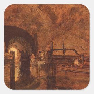 Un túnel del canal cerca de Leeds de Guillermo Pegatina Cuadrada