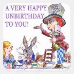 ¡Un Unbirthday muy feliz a usted! Calcomanía Cuadradas Personalizadas