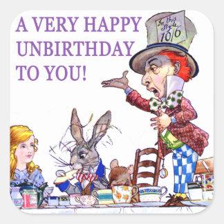 ¡Un Unbirthday muy feliz a usted Calcomanía Cuadradas Personalizadas