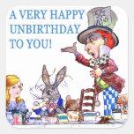 ¡Un Unbirthday muy feliz a usted! Colcomanias Cuadradass