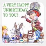 ¡Un Unbirthday muy feliz a usted! Calcomanía Cuadradas
