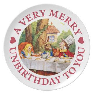 ¡Un Unbirthday muy feliz a usted Plato Para Fiesta