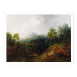 Un valle de la montaña con las figuras rústicas, c postales