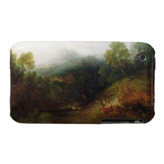 Un valle de la montaña con las figuras rústicas, iPhone 3 funda