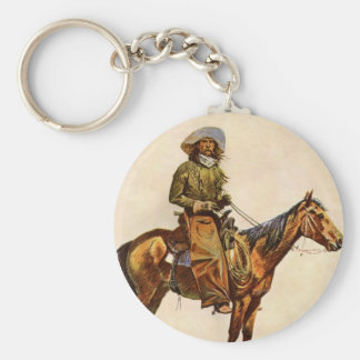 Un vaquero de Arizona por arte occidental del Llavero Redondo Tipo Chapa