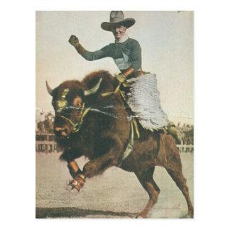 Un vaquero feliz en un búfalo Bucking Tarjetas Postales