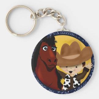 Un vaquero y su caballo llavero