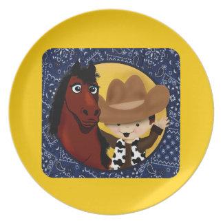 Un vaquero y su caballo plato de comida