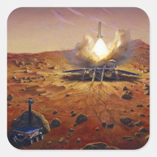Un vehículo de la subida de Marte Calcomanías Cuadradas Personalizadas