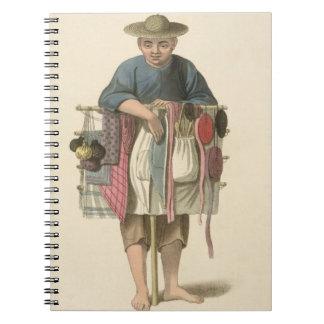 """Un vendedor ambulante, platea 17 """"del traje de Chi Libros De Apuntes Con Espiral"""