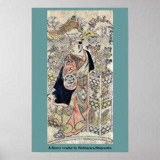 Un vendedor de flor por Nishimura, Shigenobu Impresiones