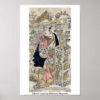 Un vendedor de flor por Nishimura, Shigenobu Poster