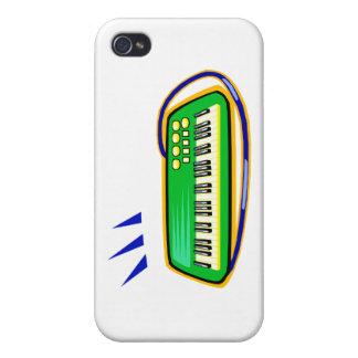 Un verde keytar con un gráfico azul de la correa, iPhone 4 carcasas