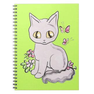 Un verde más brillante BG del gato fresco del gati Libro De Apuntes Con Espiral