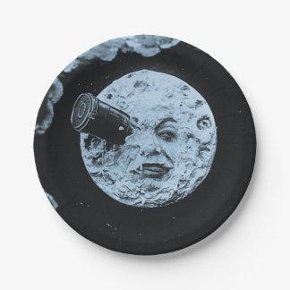 Un viaje a la luna azul de Le Voyage de la luna Plato De Papel De 7 Pulgadas