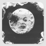 Un viaje a la luna calcomania cuadradas