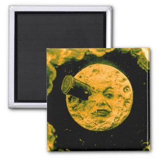 Un viaje a la luna imán cuadrado