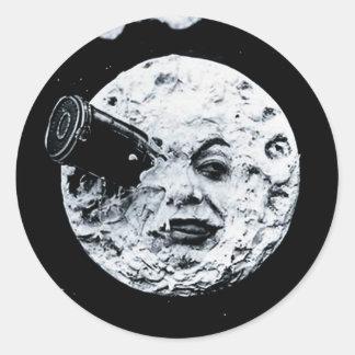 Un viaje a la luna pegatina redonda