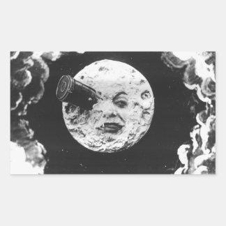 Un viaje a la luna rectangular pegatinas