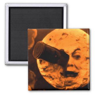 Un viaje a la luna (sepia de la naranja de sangre) imán cuadrado