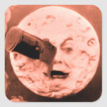 Un viaje a la luna (sepia subió) pegatina cuadradas personalizada