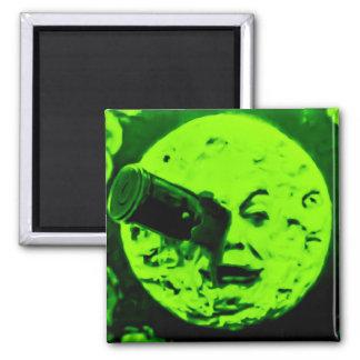 Un viaje a la luna (verde retro marciano) imán de frigorífico