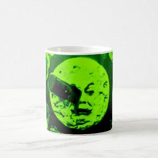 Un viaje a la luna (verde retro marciano) taza de café