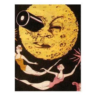 Un viaje al cartel de película de la luna postal