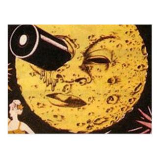 Un viaje al cartel de película de la luna tarjeta postal