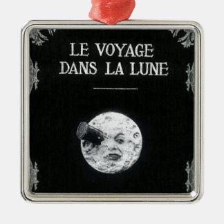 Un viaje al cine francés retro del vintage de la adorno cuadrado plateado